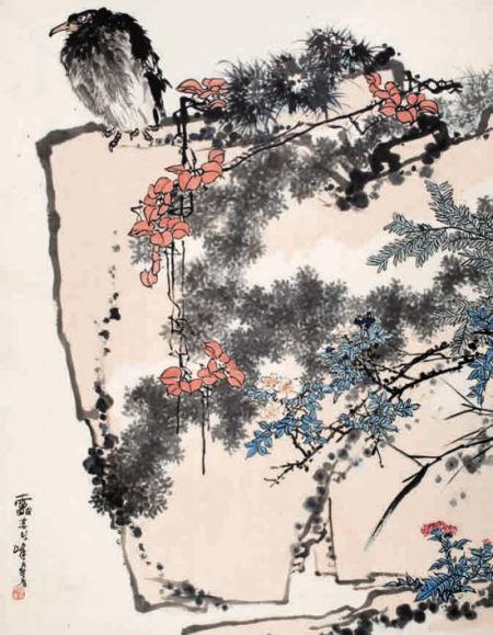 潘天寿 鹰石山花图
